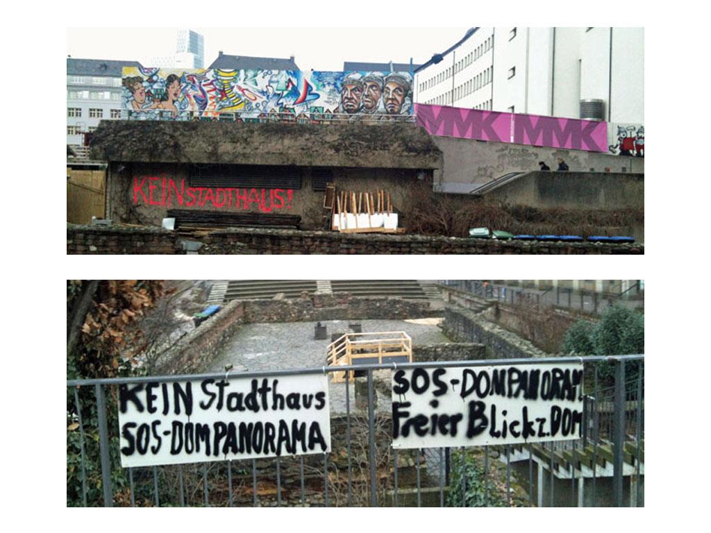 Proteste gegen die neue Altstadt in Frankfurt