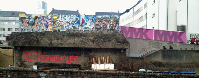 """Neue Altstadt in Frankfurt - PROTEST-GRAFFITI """"KEIN STADTHAUS"""""""