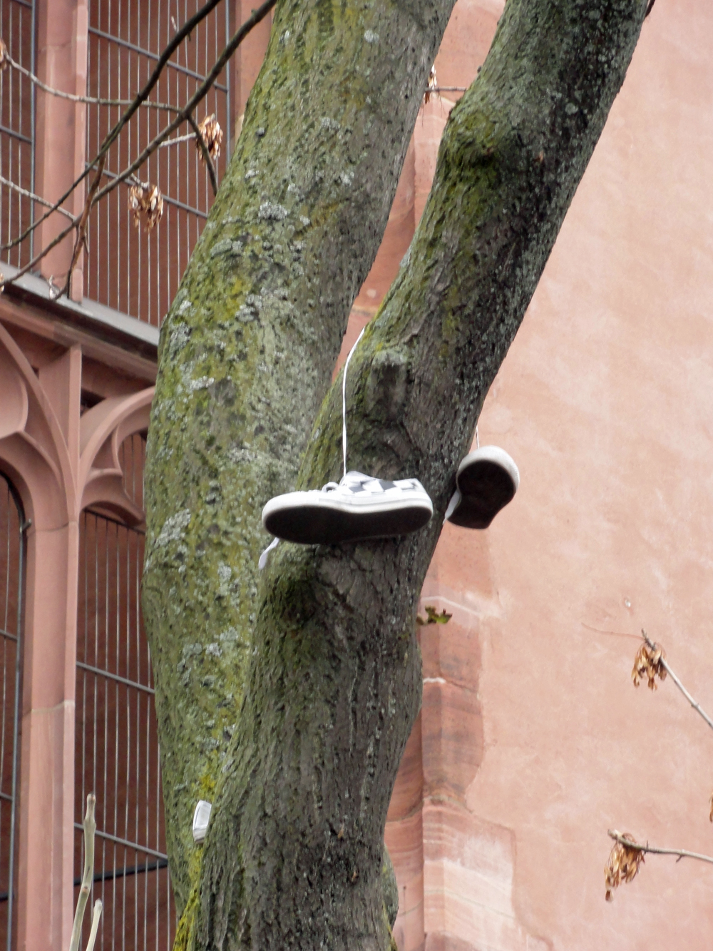 Schuhe an Schnürsenkeln aufgehangen im öffentlichen Raum