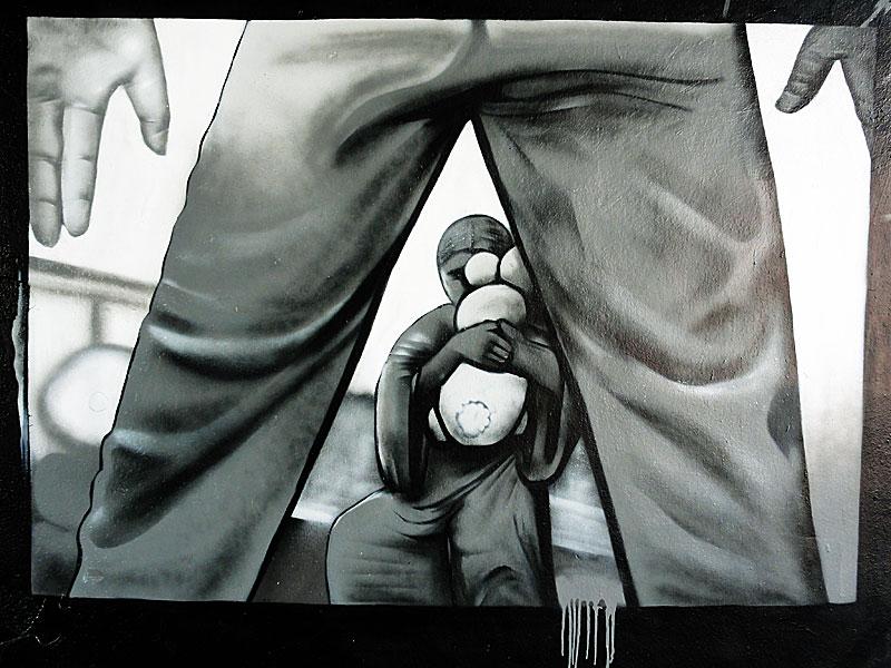 Close your eyes - Mural an der Friedensbrücke in Frankfurt