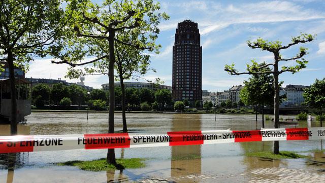 Hochwasserlage in Frankfurt