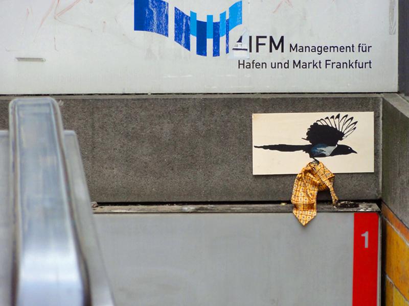 streetart frankfurt vogel krawatte bornheim mitte