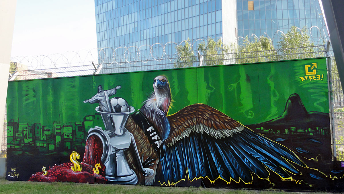 Graffitikunst am Bauzaun der EZB in Frankfurt