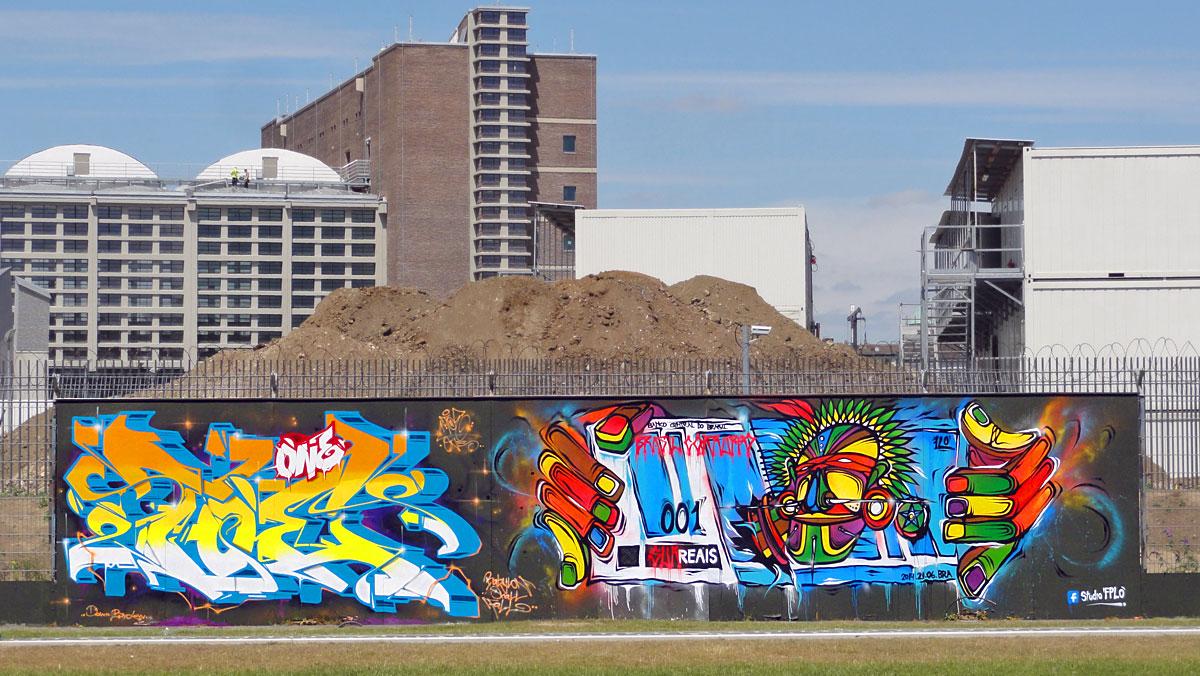 Graffiti in Frankfurt - Freiluftgalerie am Bauzaun der EZB / Toe One + Studio FPLO