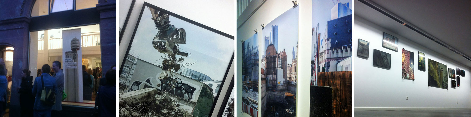 Vier Fotos zur Meike Fischer-Ausstellung in der Heussenstamm Galerie in Frankfurt.