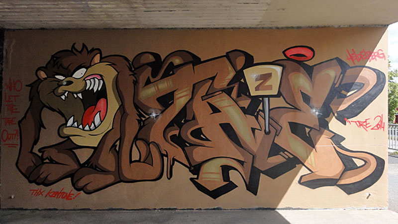 GRAFFITI IN FRANKFURT - HALL OF FAME RATSWEGKREISEL - AUGUST 2014 - TAZE
