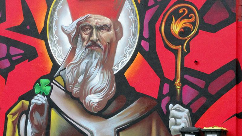 St. Patrick-Mural in Frankfurt von Klark Kent und Case Ma'Claim