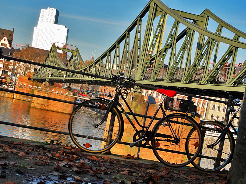 Frankfurt, Spätherbst statt Winter am Eisernen Steg