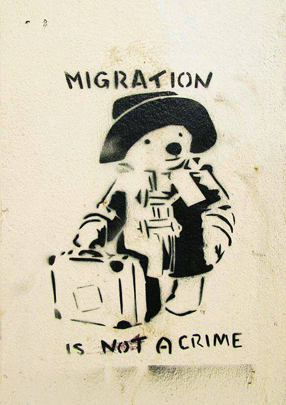 migration is not a crime sticker gegen rechts 2015