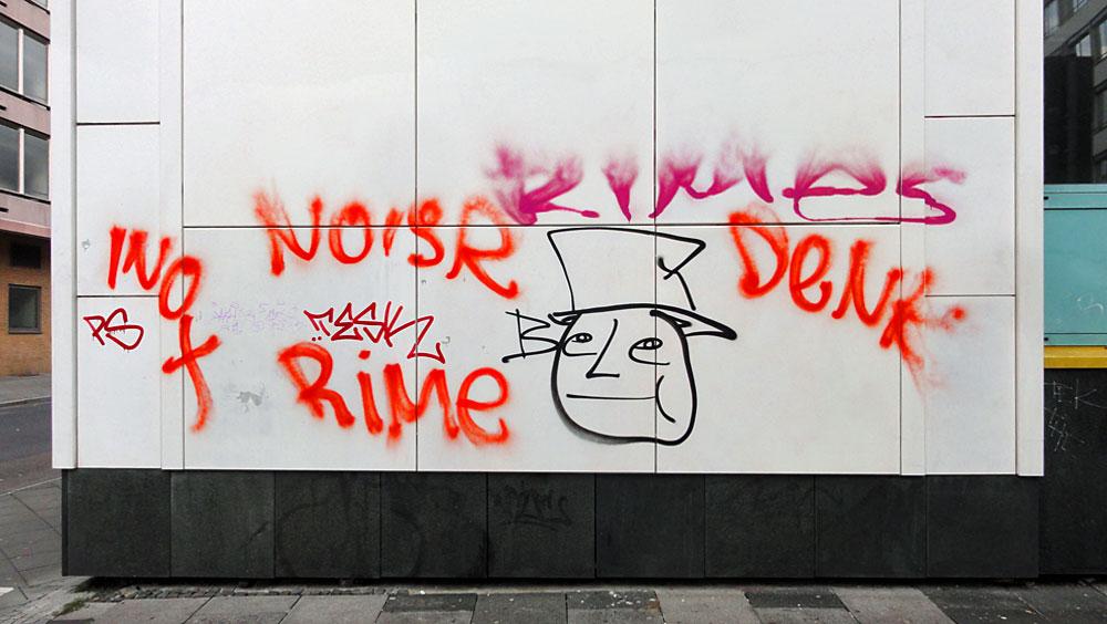 Tags von Denk, Noisr, Rime, Inox, PS, Tesk und Streetart von Bele in der Frankfurter Innenstadt