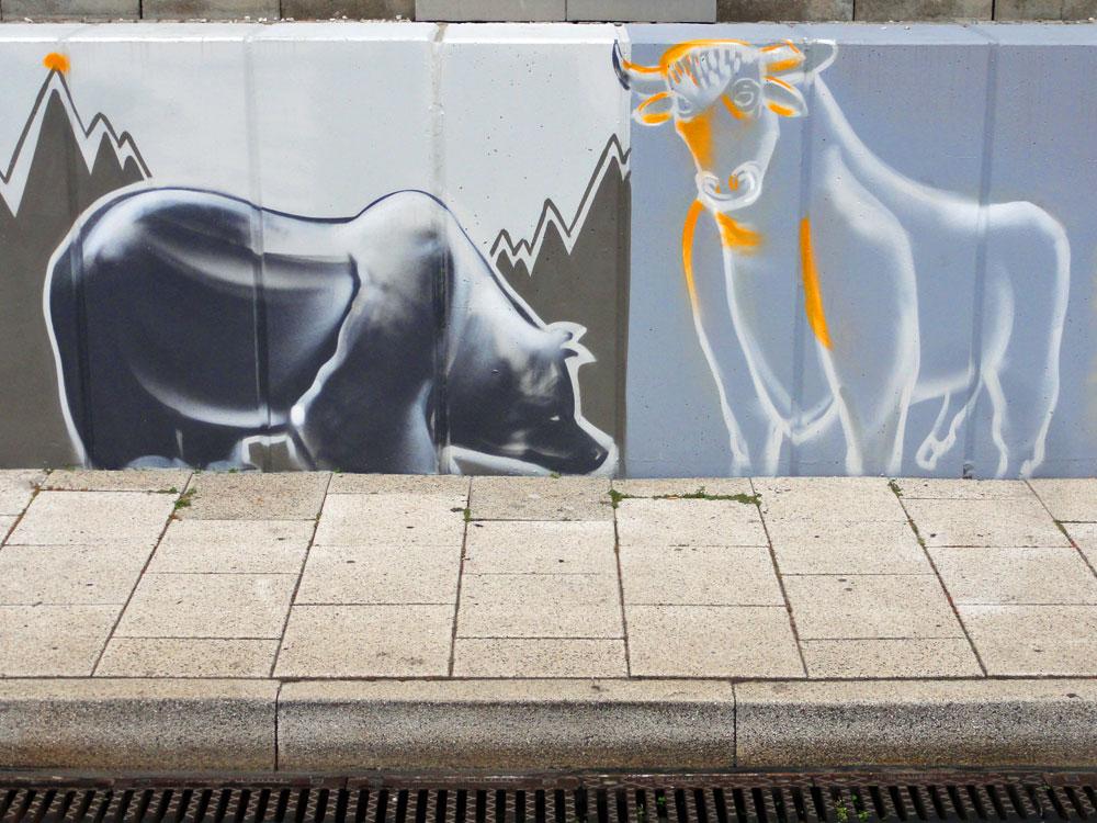 Graffiti vom Bomber am Airport Frankfurt: Bull & Bear