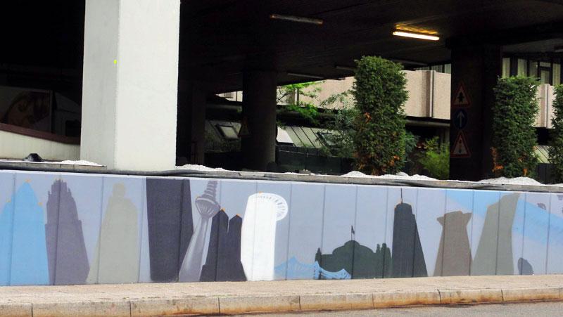 Graffiti vom Bomber am Airport Frankfurt: Hochhäuser