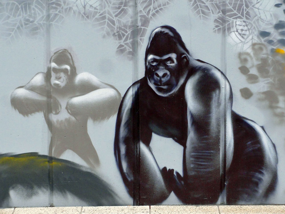 Graffiti vom Bomber am Airport Frankfurt: Gorillas