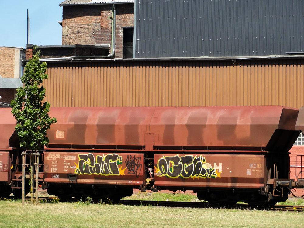 Graffiti auf Güterzügen in Frankfurt