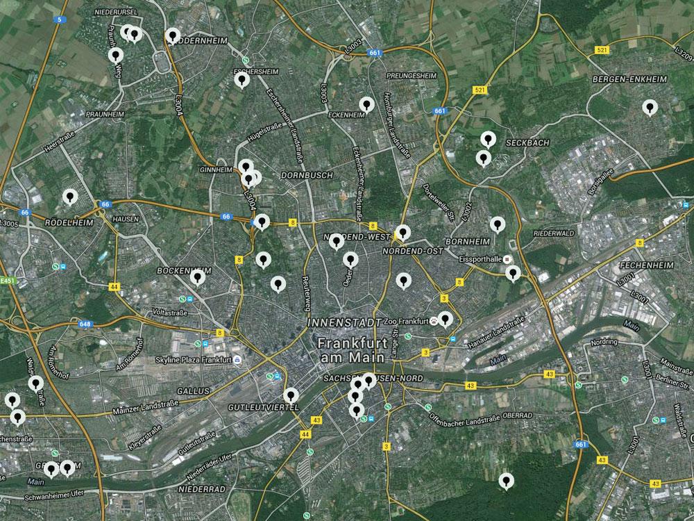 Ping Pong Map - Übersichtskarte zu öffentlichen Tischtennisplatten in Frankfurt