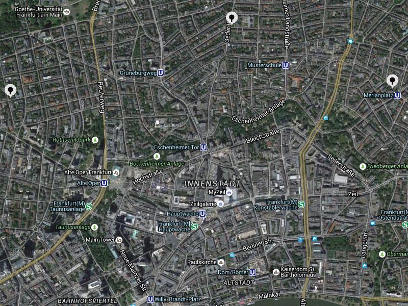 Tischtennisplatten in Frankfurt - Übersichtskarte zeigt Ausschnitt vom Stadtkern