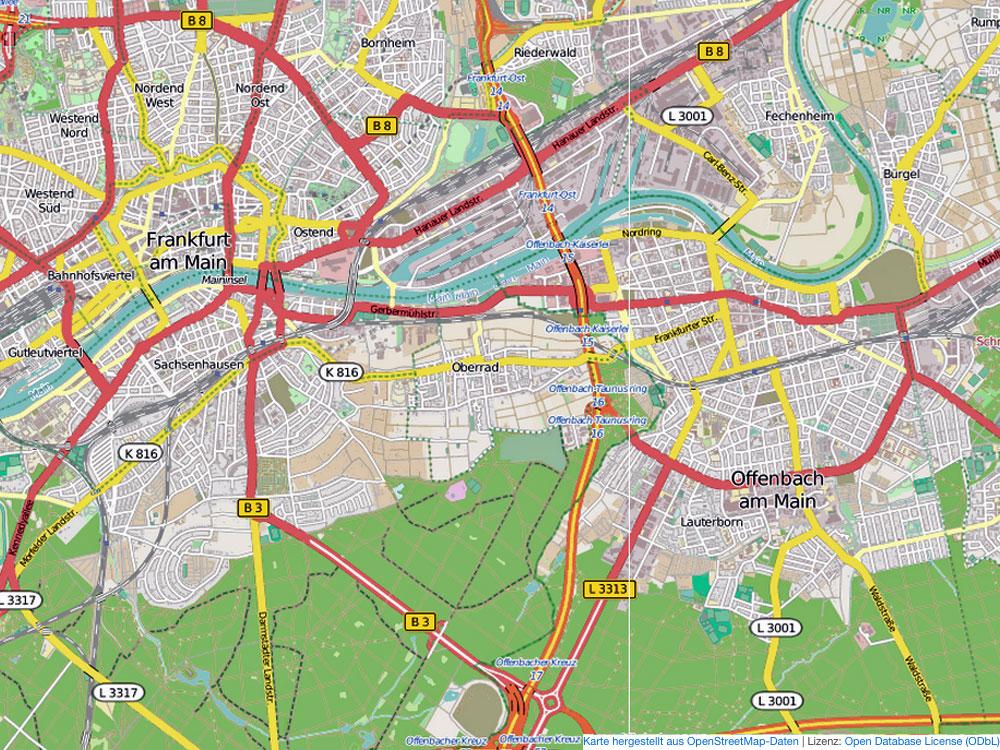 Frankfurt und Offenbach - Kartenausschnitt Open Street Map