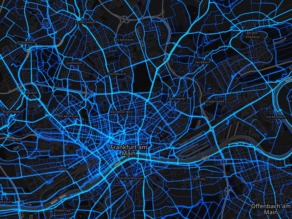 Starva Heatmap Frankfurt - Screenshot - Copyright by STRAVA