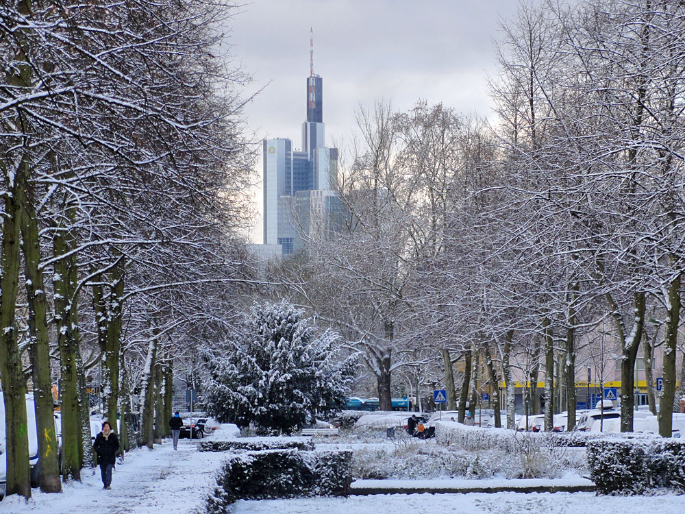 Schnee in Frankfurt 2016 - Nordend