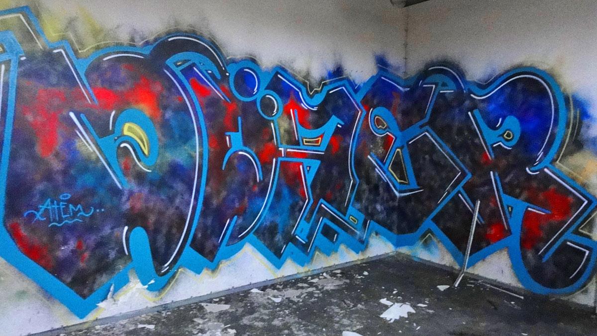 Urbex Frankfurt: Graffiti von ATEM in den Teves Werken