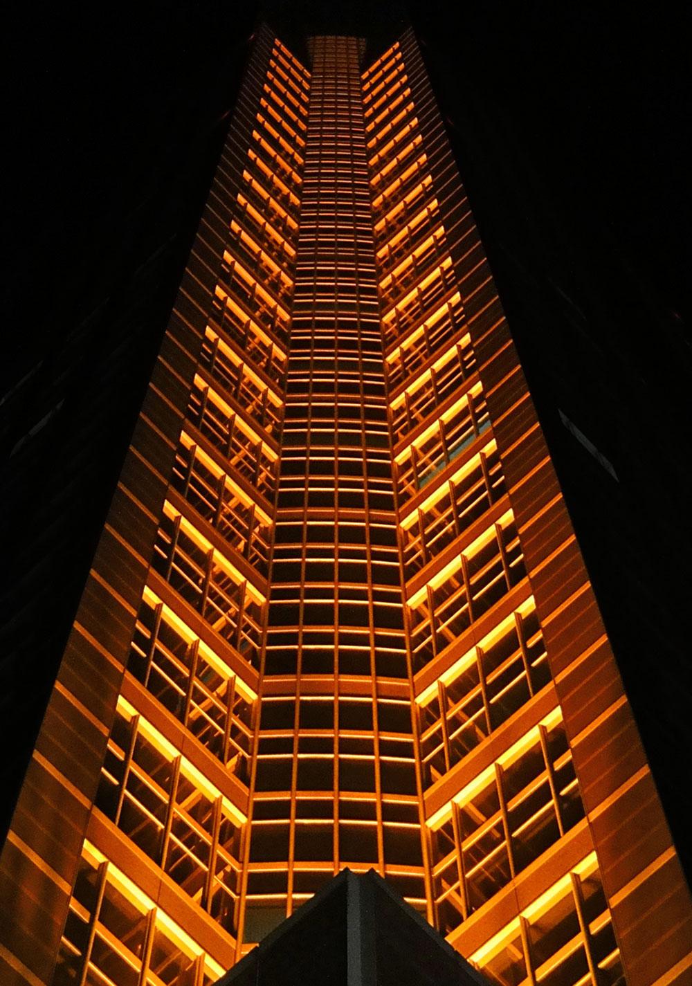 Fotos von der Luminale 2016 in Frankfurt: Illumination des Frankfurter Messeturms
