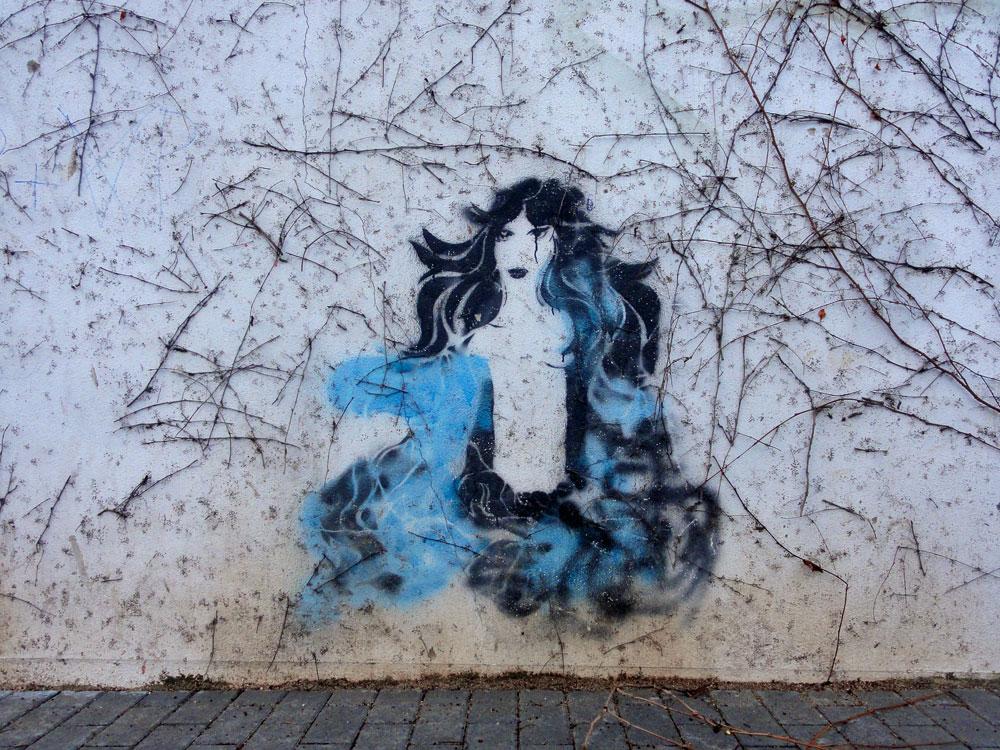 Meerjungfrau- Streetart in Offenbach