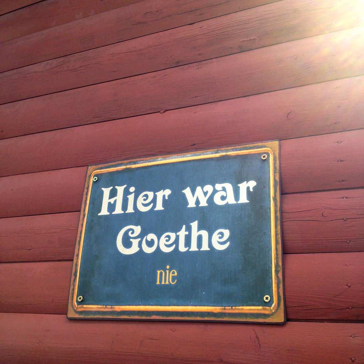 Schild in Frankfurt Bornheim - Hier war Goethe nie
