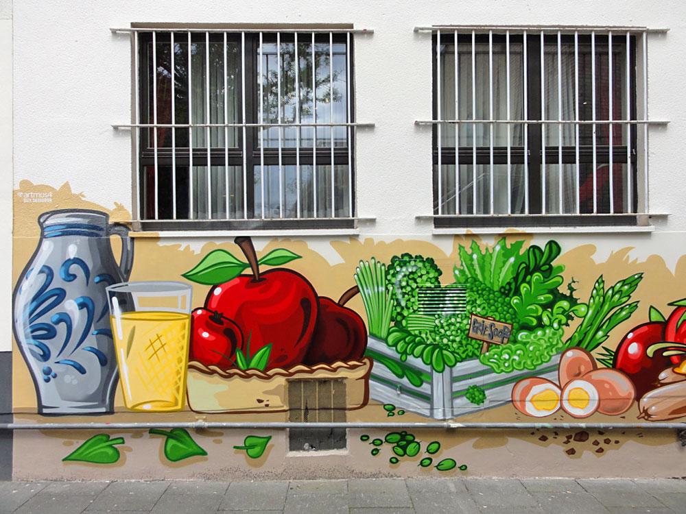 Bembel und Geripptes - Graffiti an der Kleinmarkthalle in Frankfurt am Main