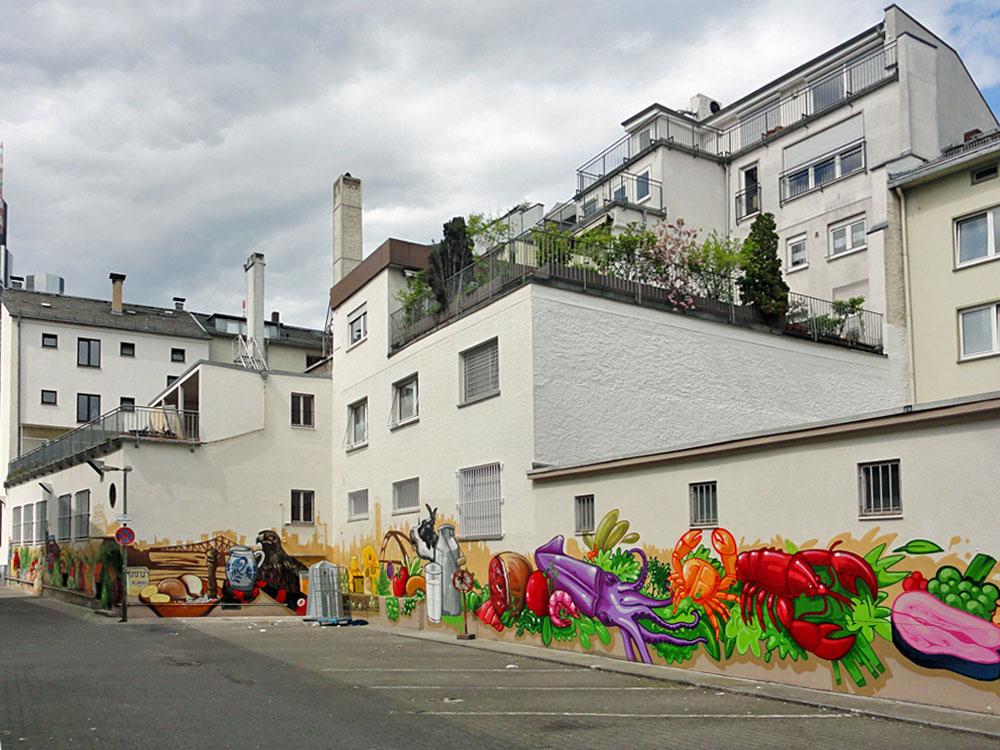 Hinterhof Panorama - Graffiti an der Kleinmarkthalle in Frankfurt am Main