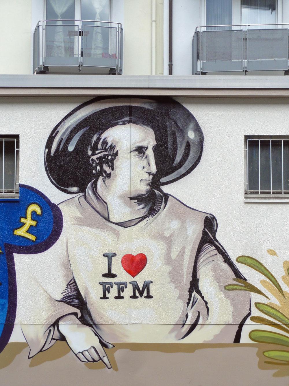Goethe mit I love FFM - Graffiti an der Kleinmarkthalle in Frankfurt am Main