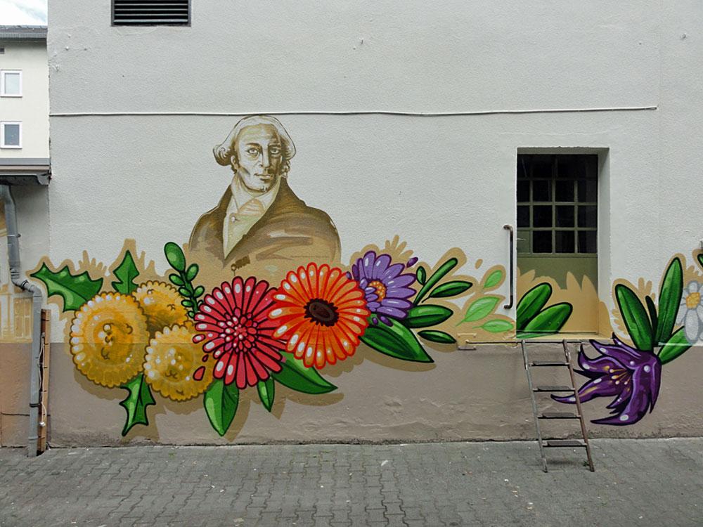 Thurn und Taxis - Graffiti an der Kleinmarkthalle in Frankfurt am Main