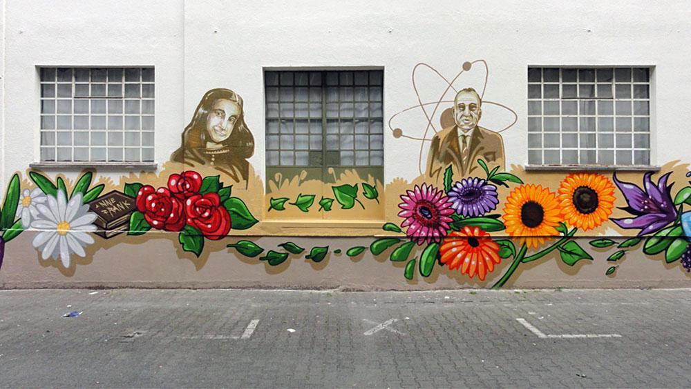 Anne Frankfurt und Otto Hahn - Graffiti an der Kleinmarkthalle in Frankfurt am Main
