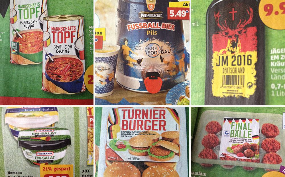 Supermärkte und ihre Produkte anlässlich der Europameisterschaft 2016 in Frankreich.