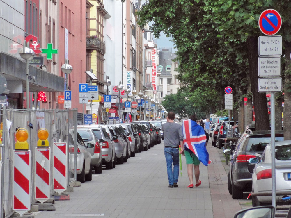 Islandfahne zur EURO 2106 in Frankfurt
