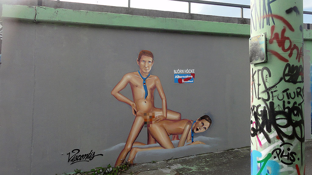 Künstlergruppe Viscontis: Graffiti-Arbeit am Ratswegkreisel in Frankfurt.
