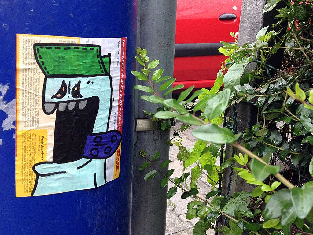 Streetart-Aufkleber in Frankfurt