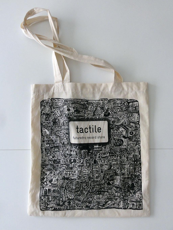 Jutebeutel vom Tactile Record Store mit Design von Jan Paul Müller