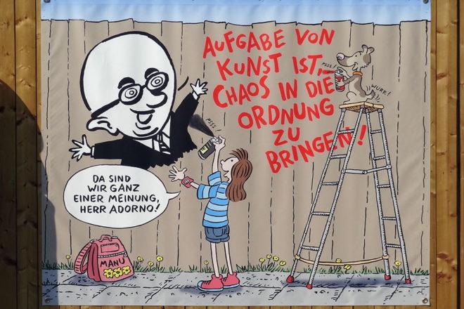 Baustellen-Comic von Volker Reiche am Jüdischen Museum in Frankfurt