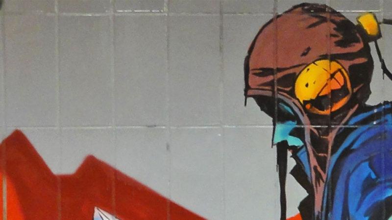 Graffiti an der Galluswarte in Frankfurt am Main