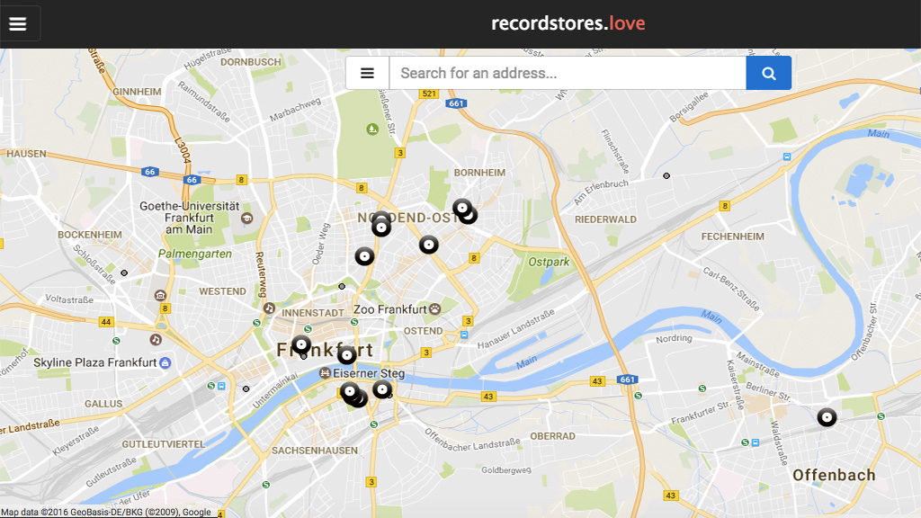 Record Stores in Frankfurt - Map von recordstore.love