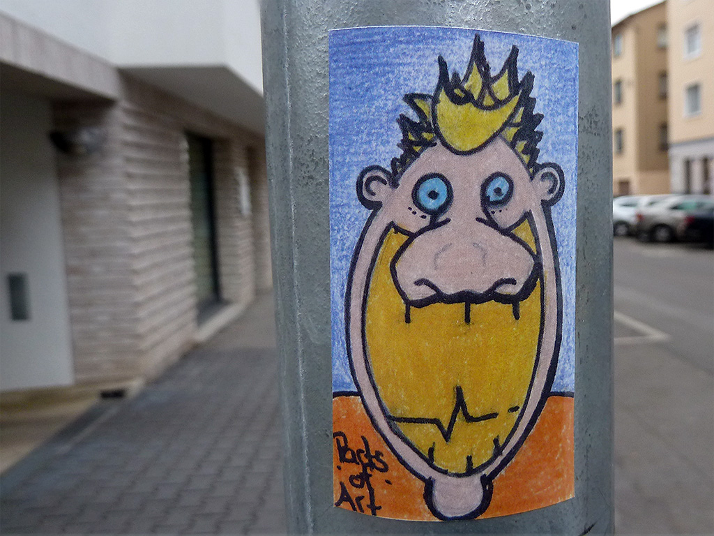Streetart in Frankfurt: Parts of Art-Aufkleber