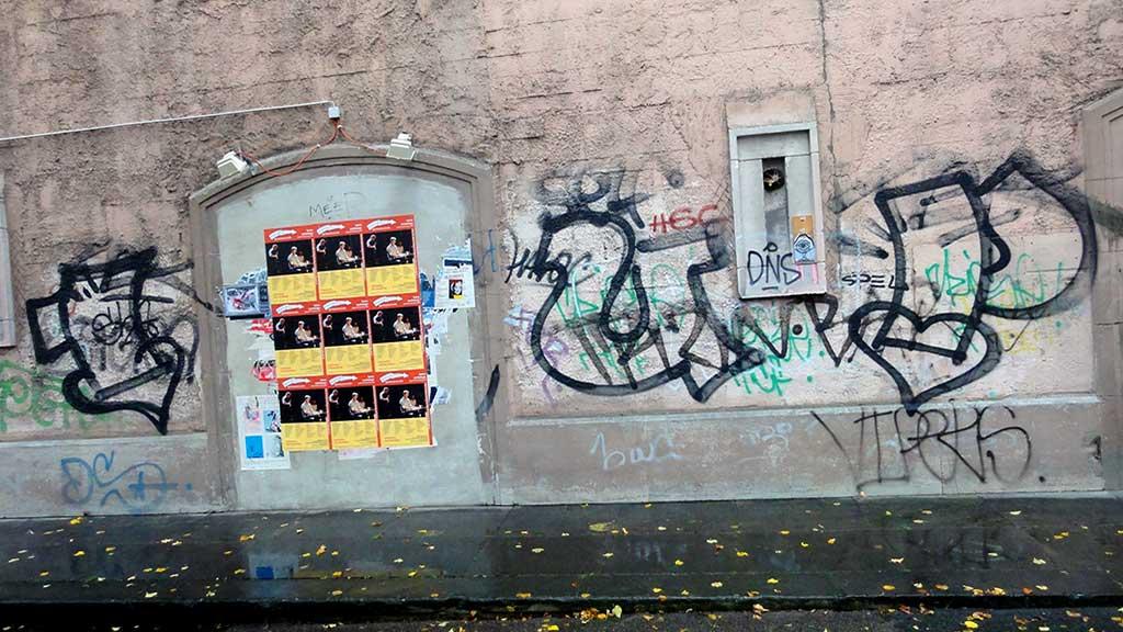 Unfertiges Graffiti in Frankfurt