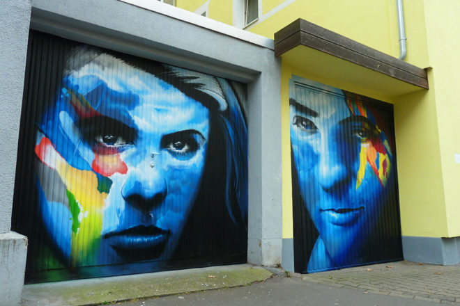Garage Door Street Art im Sandweg