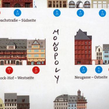 """""""Monopoly""""-Schriftzug auf einer Infotafel an der Baustelle zur neuen Frankfurter Altstadt"""