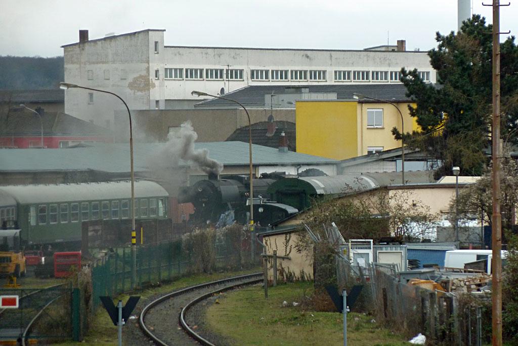 Historische Eisenbahn Dampflok in Frankfurt