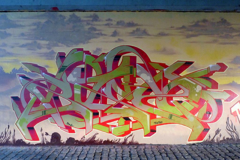 Graffiti in Frankfurt: Renegades-Mural an der Friedensbrücke