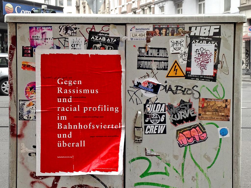Plakat von Bahnhofsviertel solidarisch in Frankfurt