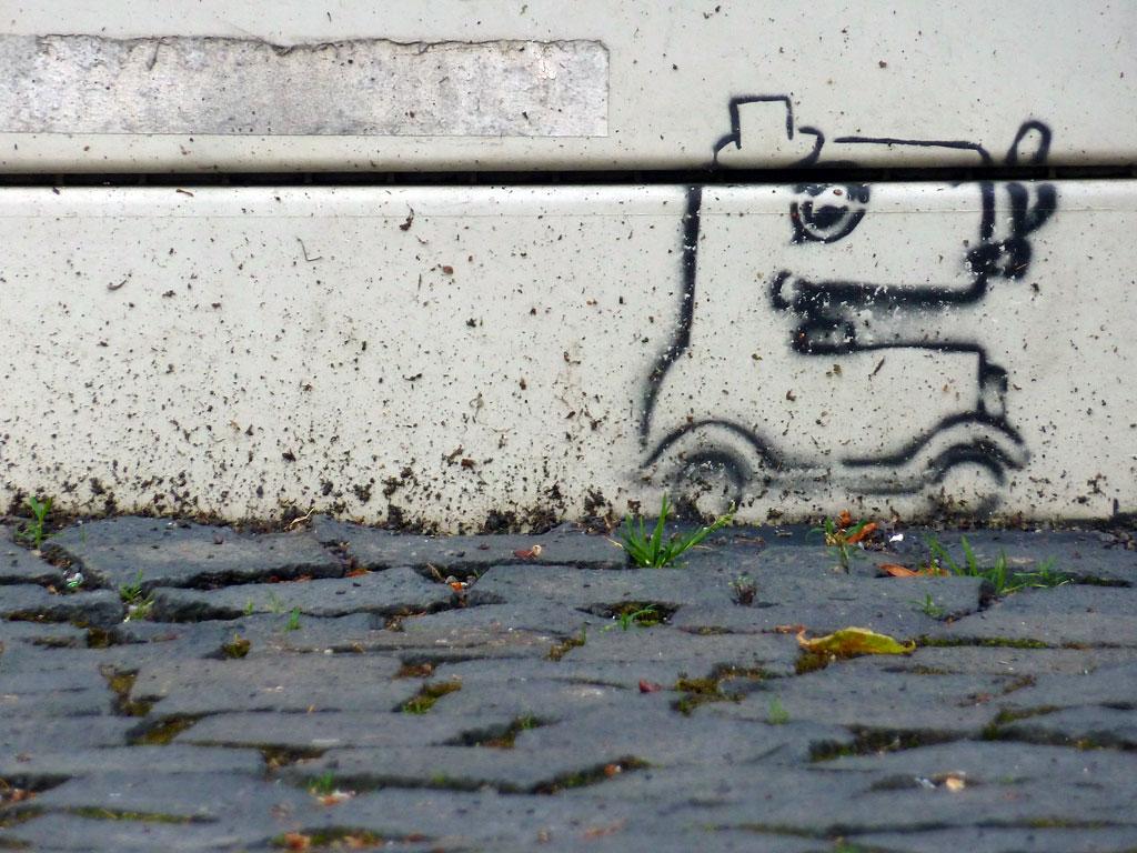 Stencil-Streetart an einem Stromkasten in Mainz