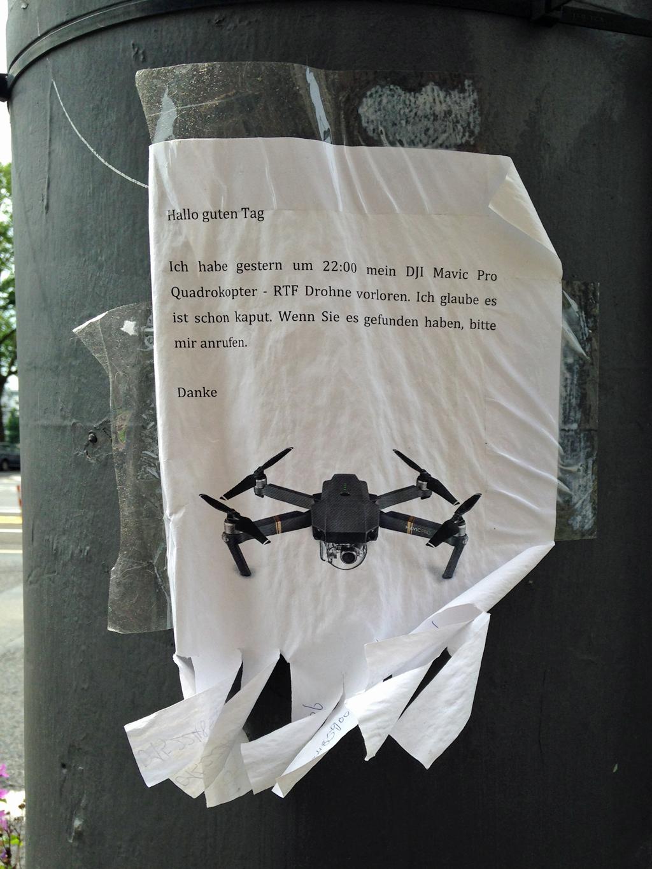 Quadrocopter/Drohne in Frankfurt verloren