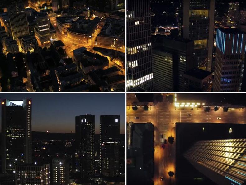 Frankfurt bei Nacht mit Drohne